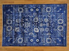 6' x 9' Tone on Tone Hand Knotted Wool and Bamboo Silk Tabriz Oriental Rug Sh21463