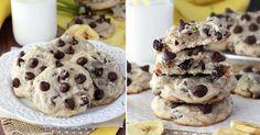 Vláčné banánové sušenky s kousky čokolády   Čarujeme Crinkles, Doughnut, Smoothies, Pancakes, Cookies, Breakfast, Desserts, Food, Milk