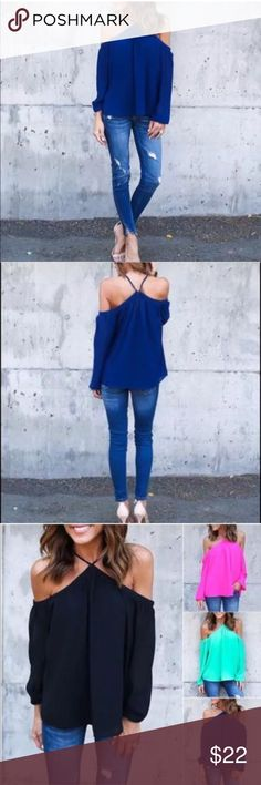 Off the Shoulders Blue Blouse Off The Shoulders Loose Breezy Top.  Small fits size 4-6. Medium fits size 6-8. Large fits size 8-10. Extra Large fits size 10-12. Price is firm unless bundled.  No trades, thanks. Tops Tees - Long Sleeve
