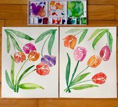 Watercolour tulips Tulips, Watercolor Art, Art Work, Design Art, Etsy, Artwork, Work Of Art, Watercolor Painting, Tulip