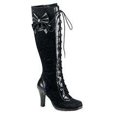 Demonia GLAM-240 Gothic Lolita Knee Boots - Demonia Shoes, Gothic Boots at SinisterSoles.com