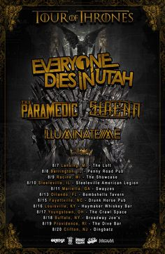 """NEWS: The hardcore band, Everyone Dies In Utah, has announced a summer U.S. headline tour, called the """"Tour Of Thrones"""" with The Paramedic, Sirena, and Illuminate Me. This run of dates will be in support oftheir new album, Neutral Ground. You can check out the dates and details at http://digtb.us/1yn9Fkh"""