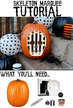 DIY Skeleton Marquee Pumpkin for Michaels by MichaelsMakers Love The Day