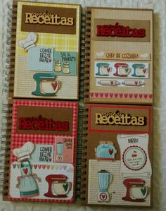 Caderno de receitas                                                                                                                                                                                 Más Scrapbook Albums, Scrapbooking Layouts, Recipe Scrapbook, Decorate Notebook, Smash Book, Bookbinding, Recipe Cards, Journal Cards, Craft Fairs