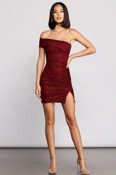 Glam Dresses, Cute Dresses, Short Dresses, Dance Dresses, Night Dress For Women, Party Dresses For Women, Birthday Dress Women, 21 Birthday Outfits, Red Glitter Dress