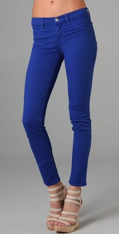 In LOVE with J brand bright blue skinny jeans!