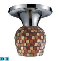 Celina 1 Light LED Semi Flush In Polished Chrome And Multi Fusion Glass 10152/1PC-MLT-LED