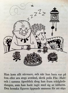 "Illustration by Åke Lewerth, from the book ""Kalas, sa Knas"". The burgomaster and his wife are sleeping. (Sorry, I did some extra drawing in this pic as a kid…)"
