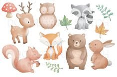 a lovely set of cute watercolor woodland animal clipart desi. you will recieve: 12 x individual png files inches) Art And Illustration, Hirsch Illustration, Squirrel Illustration, Woodland Illustration, Watercolor Illustration, Animal Illustrations, Cute Animal Illustration, Autumn Animals, Spring Animals