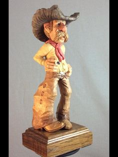 Clint by Myron Compton Wood Carving Designs, Wood Carving Patterns, Wood Carving Art, Wood Carvings, Clay People, Cowboy Pictures, Cowboys And Indians, Cowboy Art, Driftwood Art