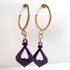 VINTAGE 60s Purple and Gold Diamond and heart dangle hoop #VINTAGE 60s #Purple and #Gold #Diamond and #heart #dangle #hoop #earrings #shaped #Drop #teardrop #nonpierced #clipon #jewelry #Valentines #Day #Accessory #etsy