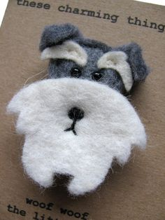 Woof Woof Schnauzer Felt Brooch by thesecharmingthings on Etsy, £11.00