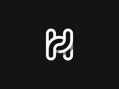 """#logo H symbol for hug """"H"""" letter monogram black and white minimal logo design for cool modern brand. Good for graphic design inspiration ideas for branding"""