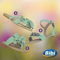 O verde invadiu a estação mais linda do ano e a coleção da Bibi também. Qual dessas sandalinhas você escolhe? 💚Loja virtual na bio do nosso perfil. #CalcadosBibi #ModaMenina Ref. A 883024 | Tam. 28 a 37 Ref. B 816172 | Tam. 28 a 37 Ref. C 810130 | Tam. 18 a 27