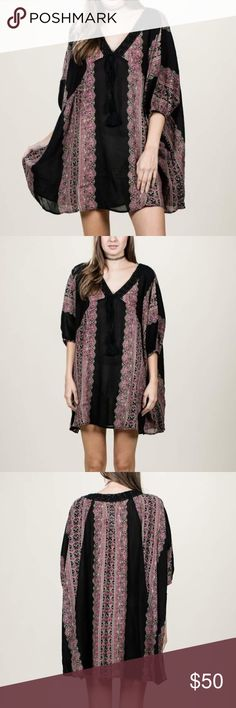 FINAL FEW • Boho Pattern Tunic Dress I'm obsessed with this Summer to Fall transition piece. Printed tunic dress with tie front and lace v-neck details. perfect to be worn as a top or as a dress. Semi see through so I would wear a slip/shorts underneath if you wear it as a dress. Price is firm. 4  •I'm 5 foot 8 wearing a size medium, small is too short on me but would be long enough on someone shorter.   -Length Measurements- •Small: 29 •Large: 31.5 •Medium: 30   ❌No trades ❌Posh…