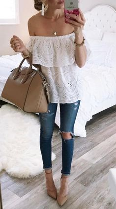eyelet top in white and yellow