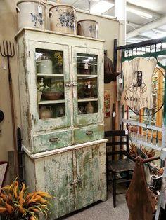 primitive cabinet antique booth display