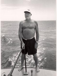 Author Ernest Hemingway Deep Sea Fishing in Waters Off Havana By Alfred Eisenstaedt