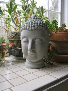 Buddha Head Statue, Unpainted Concrete Serene Buddhism Figure, Cement Garden Decor