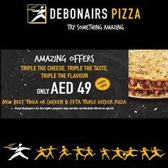 Try our Triple Decker Pizzas in these two delicious flavours. #pizza #debonairspizza #tripledecker Pizza Special, Feta