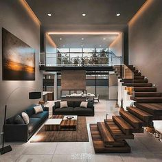 Modern architecture house design with minimalist style and luxury exterior and i. - Modern architecture house design with minimalist style and luxury exterior and i… Modern archit - Modern Architecture House, Modern House Design, Modern Interior Design, Architecture Design, Stairs Architecture, Modern Apartment Design, Modern Houses, Contemporary Interior, Stairs In Living Room