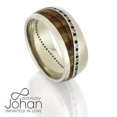 Black And White Diamond Wedding Band in White Gold, Wood Ring-DJ1016WG