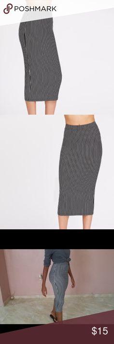 Pencil Skirt Elastic waist black and white striped pencil skirt Skirts Pencil