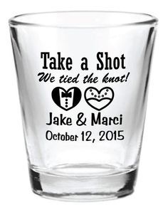 NEW Personalized 1.5oz Wedding Favors Glass Shot Glasses 2015 Custom Bride & Groom Hearts by Factory21 on Etsy https://www.etsy.com/listing/190357583/new-personalized-15oz-wedding-favors