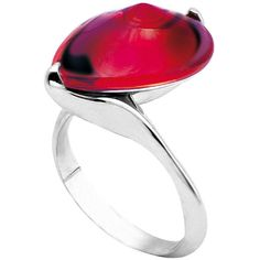 Baccarat Fleurs De PsydÉLic Ring ($310) ❤ liked on Polyvore featuring jewelry, rings, iridescent red, red rose jewelry, silver band ring, cocktail rings, red ring and clear crystal ring