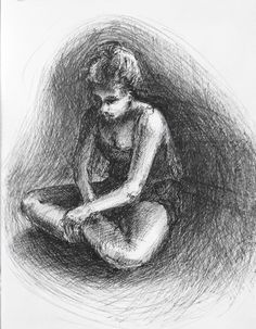 Pen and ink drawing from life, Tilly reading.
