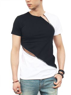 Gentler Men's Two Color Sexy Diagonal Zipper Short Sleeve T-Shirt One Size Black/Whites Best Casual Shirts, Cool Shirts, Mens Clothing Guide, African Men Fashion, Mens Fashion, Man Dress Design, Denim Jacket Men, Casual Street Style, Shirt Style