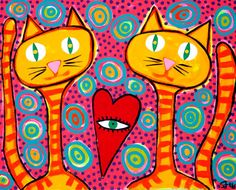 Kitty Love Cats  original outsider folk pop art brut by STUCKY 16x20 gallery wrapped stretched canvas 2013 on Etsy, $100.00