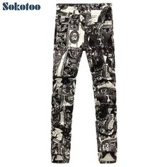 Mens fashion photo frame print jeans Male European and American painted denim pants Trousers Free shipping