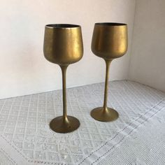 Brass Goblets / Vintage Wine Cups / Made in India / Brass Plated Stemware by vintagepoetic on Etsy