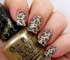 blue and gold leopard nail art designs -