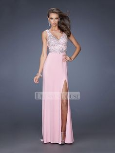 Straps V-neck Beadings High Slit Low Back Chiffon Prom Dress PD11699