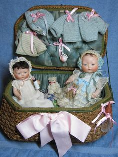 """8"""" and 9"""" all original Horsemen Tynie Babies with trunk and xtra clothing and toys."""