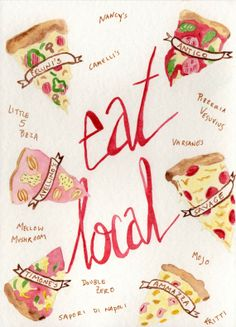 Eat Local Pizza | #Atlanta | Food Art | Delicious treats can be found in your own city | Etsy creation | Watercolor |