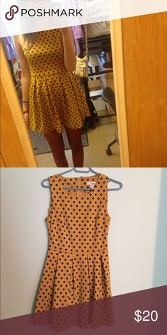 """Polkadot Tunic/Dress Cute and flirty mustard tunic/dress. I am 5'9"""" and wear with shorts underneath or leggings. From TJ Max. Great for work too! Pairs great with red tights or black leggings. 😊 Dresses"""