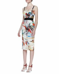 Desert-Print Bustier Dress by Milly at Neiman Marcus.
