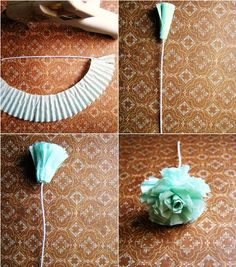 DIY - Flower from cupcake liner. Would be great for little party decorations