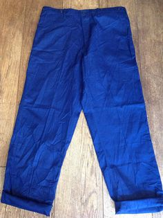 A pair of blue cotton twill chore trousers. Great condition throughout, button fly, brace buttons, perfect for summer. Measurements taken lying flat- Waist - 17 (34 doubled) Inside leg -29.5 Rise - 12 Hips - 20 (40 doubled) Leg opening at hem- 8.5 Please check your measurements carefully