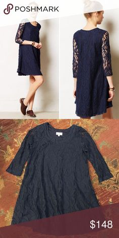 Puella Anthropologie Amare Lace Swing Dress Navy Lace 3/4 sleeve dress from Anthropologie. Size XS. In excellent condition with no flaws! Anthropologie Dresses Mini