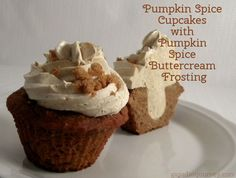 Pumpkin Spice Cupcakes with Pumpkin Spice Buttercream Frosting. Grain-free, gluten-free made with coconut flour and sweetened with honey.