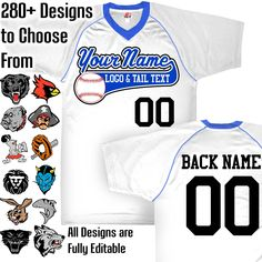 White, Royal Blue and White Custom Baseball Jersey with Your Team, Player Name and Numbers Custom Baseball Logo Purple And Black, Grey And White, Navy Blue, Orange Texas, Team Mascots, Custom Football, Royal Red, Name Logo, Baseball Jerseys