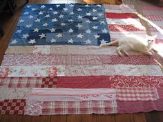 Home Girl: flag quilt from up-cycled denim and red and white fabric remnants
