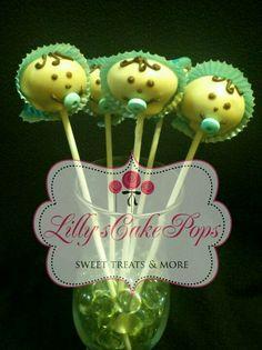 "Boy baby shower cake pops--I like the paper ""bonnet"" idea!"