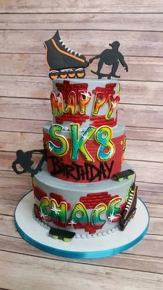 Skater boy Grafitti cake. Birthday Party At Park, Birthday Cakes For Men, Cakes For Boys, Roller Skating Party, Skate Party, Roller Skate Cake, Skateboard Party, Buttercream Wedding Cake, A Little Party