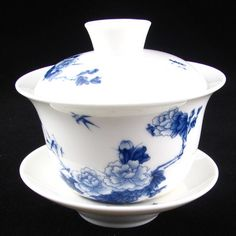 Peony Tree Blue and White Porcelain Gaiwan GW023 Tea Cup
