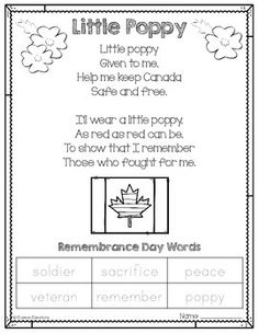 "This poem is great for kindergarten, first, and second grade students. This FREE printable will complement any Remembrance Day Canada lesson. Read a poem called ""Little Poppy\"" and trace key words after some discussion. Remembrance Day Poems, Remembrance Day Activities, November Poem, February, Kindergarten Poems, Poppy Craft, Shared Reading, Elementary Music, Educational Activities"